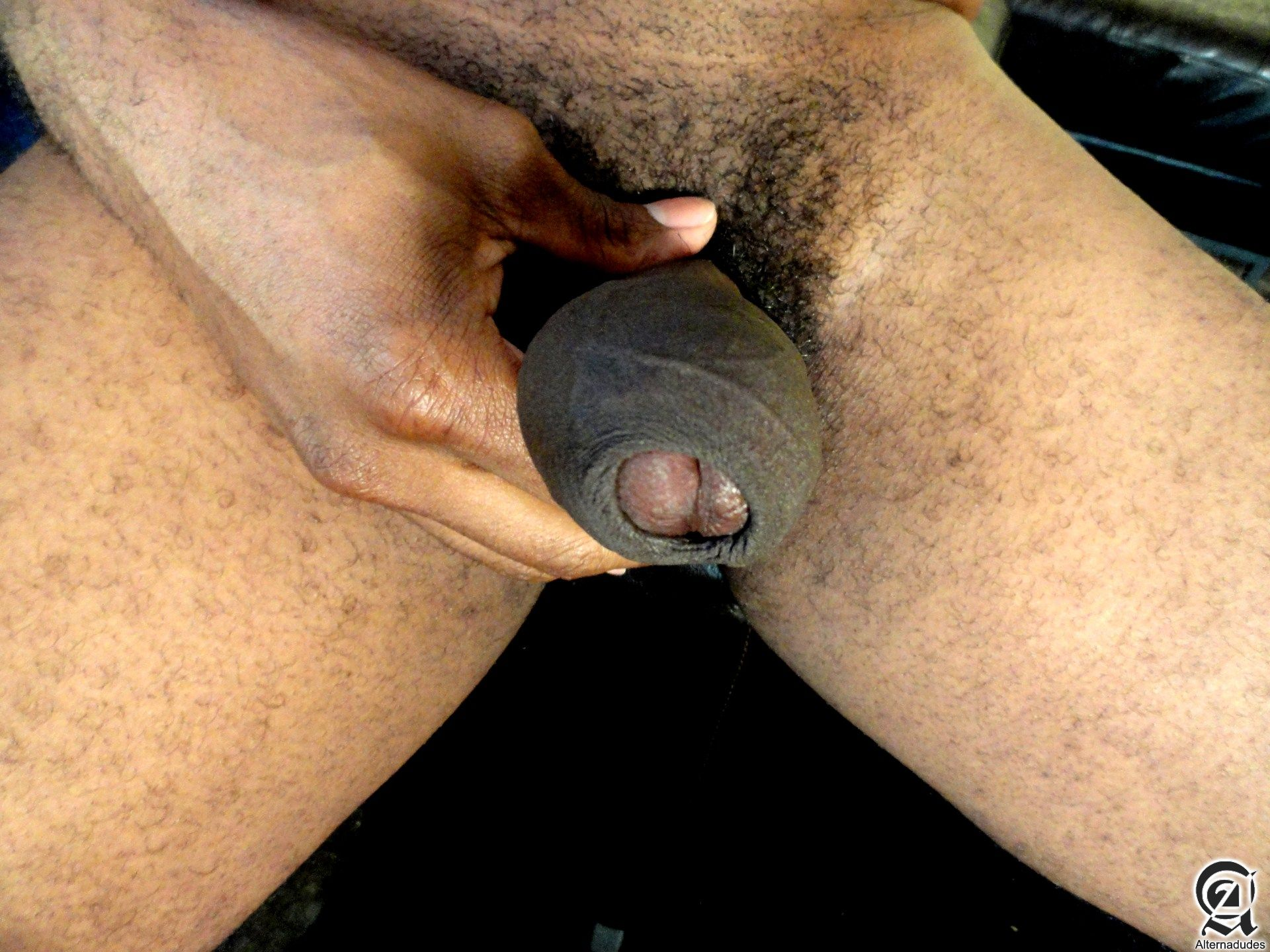 Alternadudes-Kamrun-big-black-uncut-cock-with-cum-06 Sexy Amateur Gay Black Rapper with a Huge Uncut Black Cock Shoots A Load
