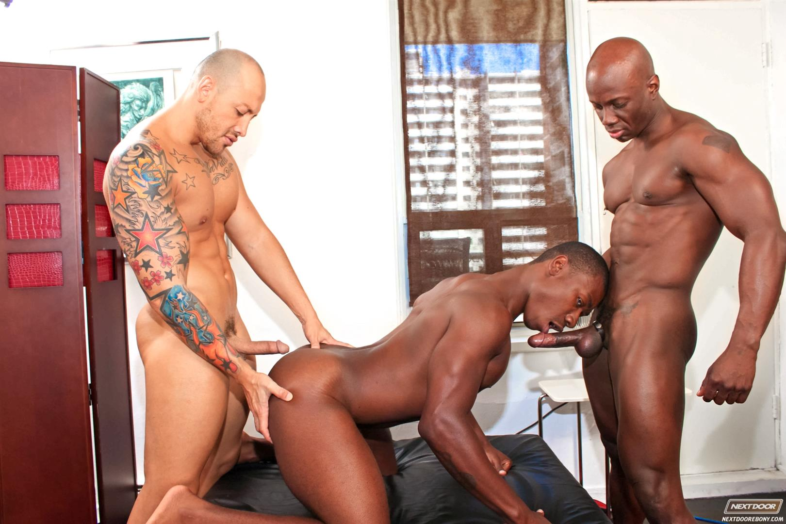Next-Door-Ebony-Jordano-Santoro-and-Jay-Black-and-Damian-Brooks-Interracial-Gay-Fucking-Threeway-Amateur-Gay-Porn-08 Interracial Muscle Couple Picks Up A Black Muscle Stud In The Park