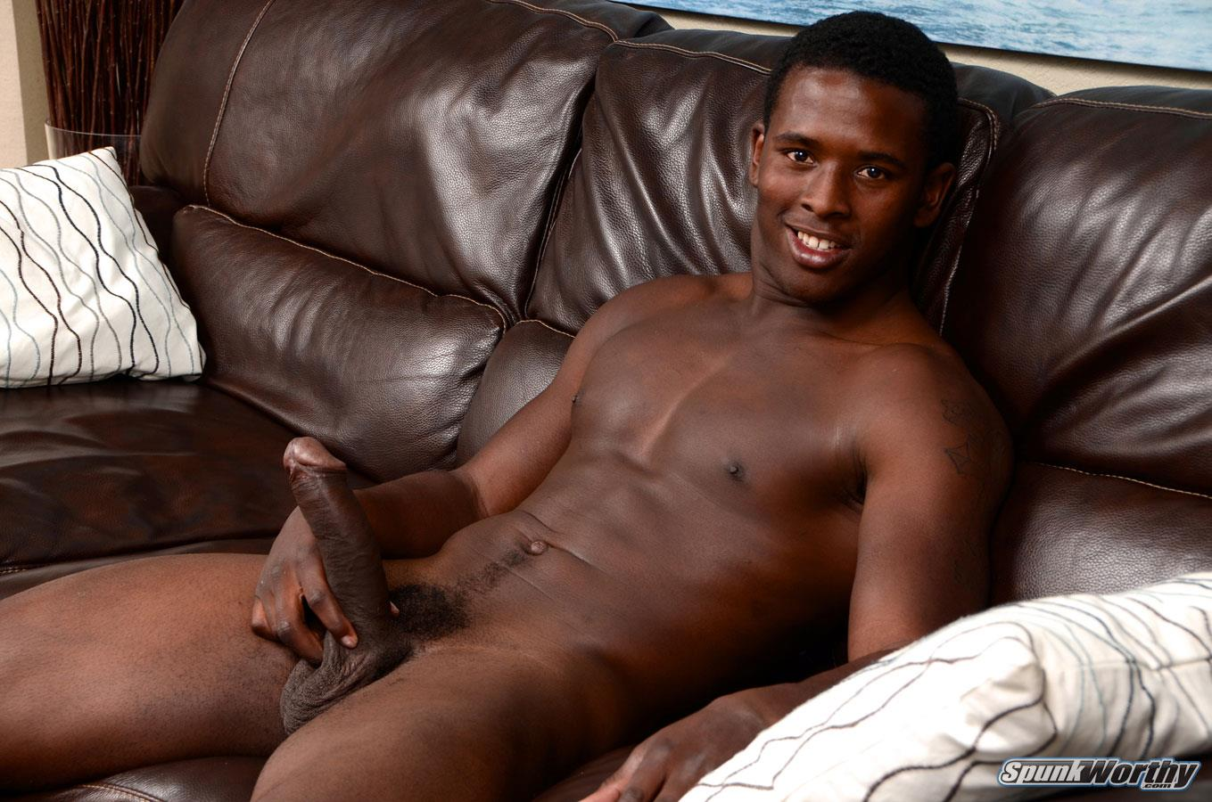 SpunkWorthy Heath Naked College Football Player Stroking His Big Black Cock Amateur Gay Porn 05 Straight College Football Player Jerking His Big Uncut Black Cock