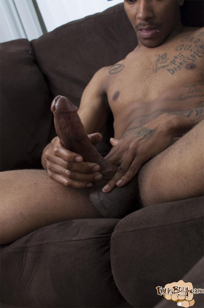 Thug-Boys-Black-Noir-Big-Black-Cock-Jerk-Off-Video-Amateur-Gay-Porn-39 Straight LA Thug Black Noir Jerking His Big Black Cock